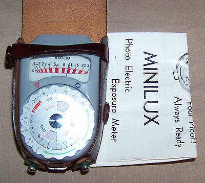 VINTAGE Leica Minilux Exposure Meter w/Leather Case & Instructions Made in Japan
