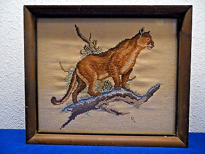 Vtg Needlepoint Cougar Panther & Savannah Auxiliary Steam Packet Hidden Litho