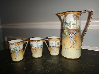 Antique Nippon Moriage Hand Painted Porcelain Chocolate Pot Cups Tea Sake Set