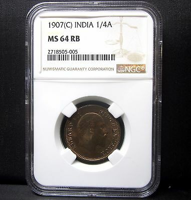 1907-C India 1/4A ✪ Ngc Ms-64-Rb ✪ Red Brown Uncirculated Anna Bu Unc ◢Trusted◣