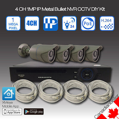 4 Channel 720P IP Metal Bullet and 1080p NVR CCTV Security Camera System DIY Kit