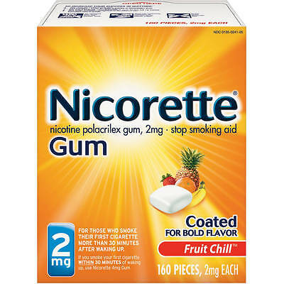 New Sealed Nicorette Nicotine 2mg Gum Fruit Chill 160 Count Exp. 2018