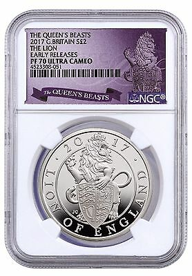 "2017 G Britain Queen's Beast ""The Lion"" NGC PF70 UC Early Release RARE"