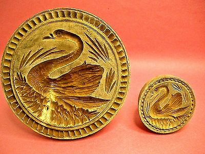 Rare Butter Stamp Pair Hand Carved American Folk Art Butter Molds Swan Lake