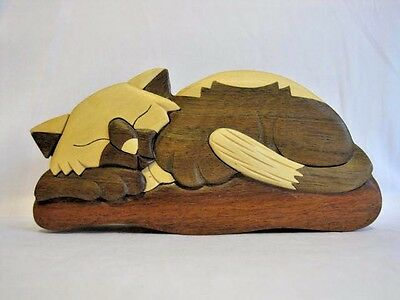Wooden Cat Puzzle Trinket Jewelry Box Hidden Compartment