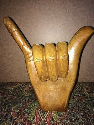 VINTAGE WOODEN CARVED HAND FIGURE HANG LOOSE 7.5 inches tall