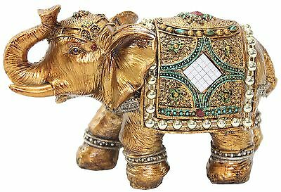 "Stunning Gold Color 6"" Elephant Trunk Statue Wealth Lucky Feng Shui Figur... NEW"