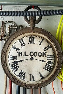 Jeweler Antique Watch Trade Sign Advertising 2 sided circa 1900.