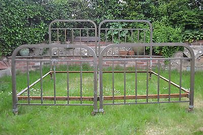 Matching pair of old Antique His & Hers Art Deco beds bedsteads French Barn Find