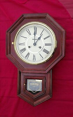 "Vintage Regulator Wooden Wall Clock ""Advance"" with Keys, Excellent Condition"