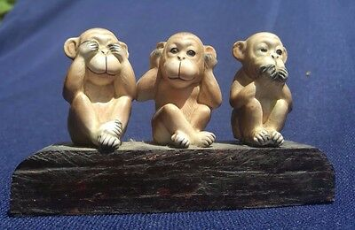 See no evil hear no evil speak no evil monkey figurine Vintage