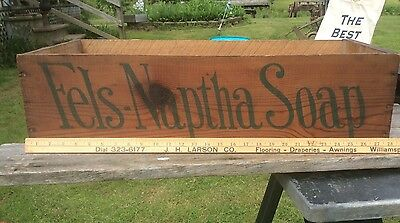 Fels - Naptha Soap Wood Shipping Crate , Green Lettering, Advertising,