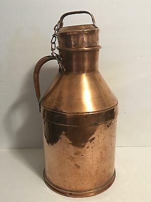 "Vintage 2 Gallon 8 Quarts Antique Copper Milk Can With Lid And Chain 18"" Tall"