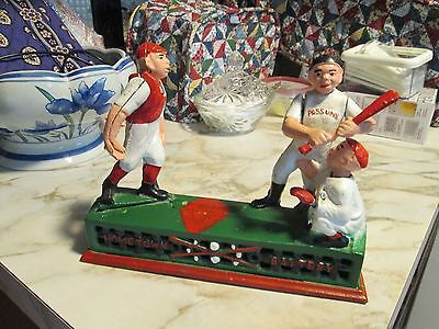 Old Vintage/ Antique Home Town Battery Cast Iron Baseball Mechanical Coin Bank
