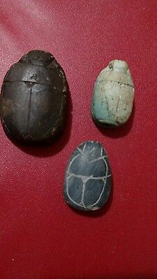 Lot of 3 Egyptian Beetle Scarab Amulets, Natural Carved Stone