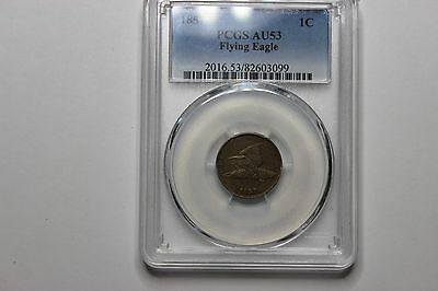 PCGS  AU 53 1857 Flying Eagle Cent Very Nice Original Detail and Strike