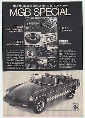 1977 MGB SPECIAL Vintage Print Ad British Leyland FREE! Stereo Striping Luggage