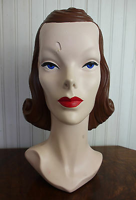 Vintage Style Mannequin Head Retro Millinery Hat Making Stand Rockabilly Decor