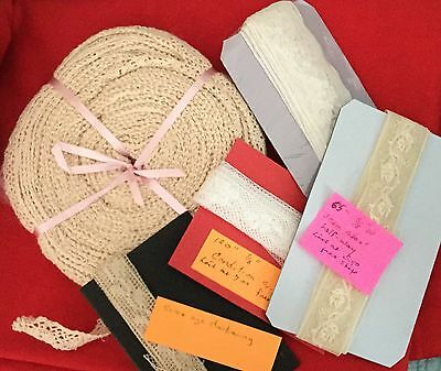 Lot 5 Antique Lace Trim Edgings Doll Clothes Sewing