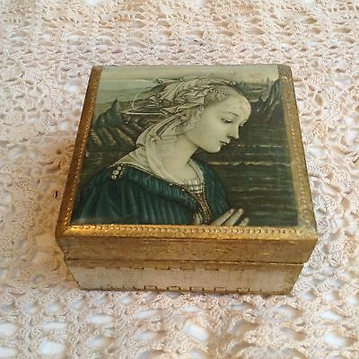 Vintage Italian Florentine Gold Gilt Mary Madonna Wood Trinket Box