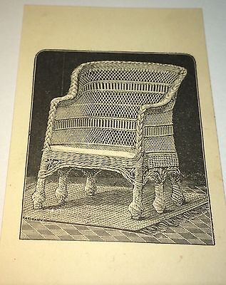 Antique Victorian American Wakefield Rattan Furniture Advertising Trade Card! US