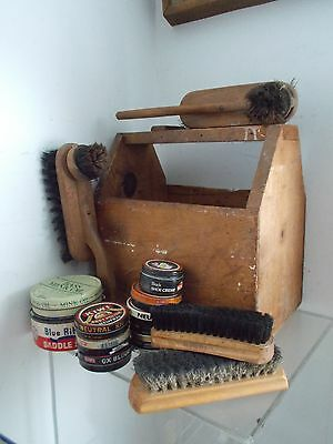 Vintage Shoe Groomer- Retro Shoe Shine Box Kit With Brushes++++ Polishes