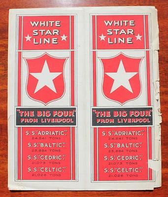 White Star Line Rms Adriatic Baltic Cedric Celtic Big 4 Promo Brochure 1920's Af