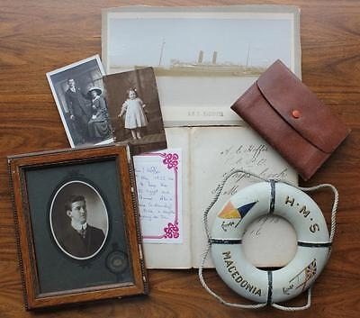 P&o Line Hms Macedonia Ww1 Cooks Personal Written Account & Lifebelt, Photos Etc