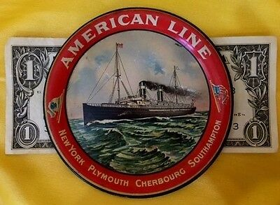 American Line Steamer Ship Ny Plymouth Cherbourg Southampton Antique Tip Tray