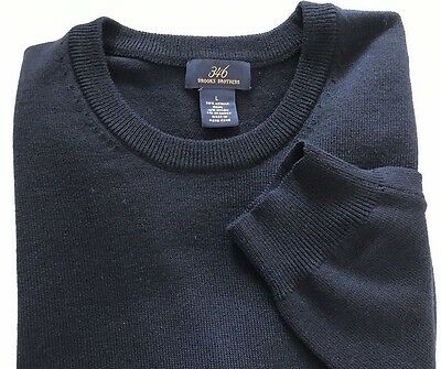 Brooks Brothers Men's Wool Blend Crew Neck Sweater, Navy, Size L