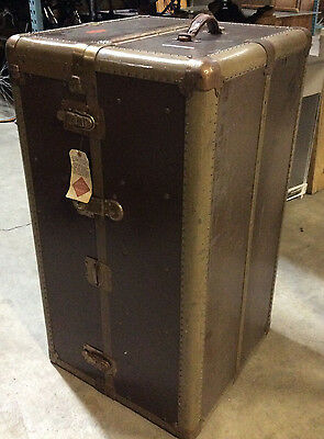Antique Wheary Steamer Wardrobe Trunk with Railway Express Agency Tag