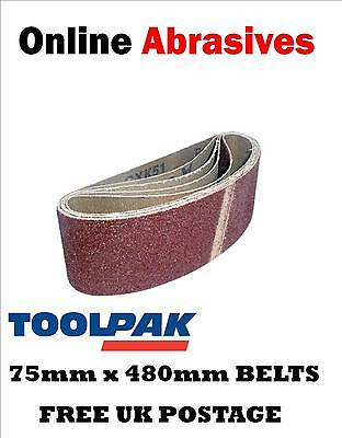Cloth Sanding Belts 75 x 480mm 60 Grit Pack of 5. For Elu MHB157 & similar