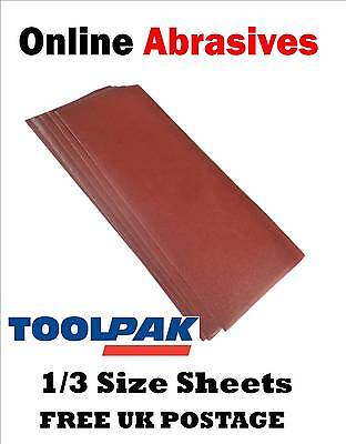 SANDING SHEETS 1/3 SIZE. 93mm x 230mm. CLIP FITTING. PACKS OF 10, 20, OR 40