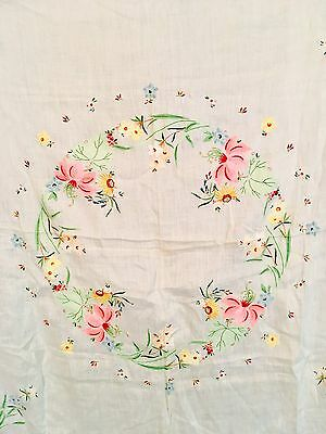 VTG MADEIRA ORGANDY Lily Flower Tablecloth Applique & Embroidery 12 Napkins Set