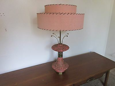 Vintage Mid Century Pink Table Lamp With Fiberglass Shade