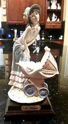 Capodimonte Porcelain Figurine Belcari Mother Child Baby Carriage Pram1986 NEW