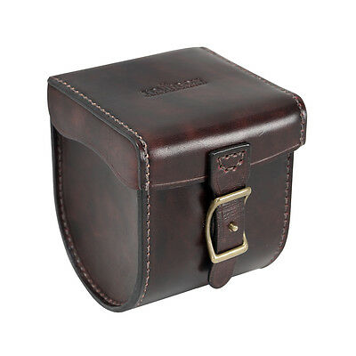 Tourbon Fly Fishing Pouch Reel Case Cover Spool Storage Box Real Leather Vintage