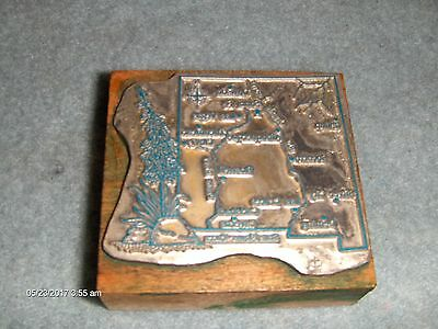 Antique Vintage Letterpress Wooden Printers Block 1 NEW MEXICO State Map U.S.A.