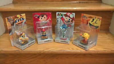 Lot of 4 Amiibo: King Dedede, Ness, Pac-Man and Silver Mario.  NEW SEALED