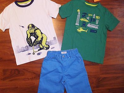 5 T Gymboree 3pc Set Blue Jean Shorts MONSTER Shirt Tops Boy New Toddler NWT