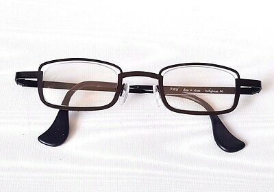 "Theo Black Metal Glasses Frames for Rx ""dave slim"" Rectangular Made in Belgium"