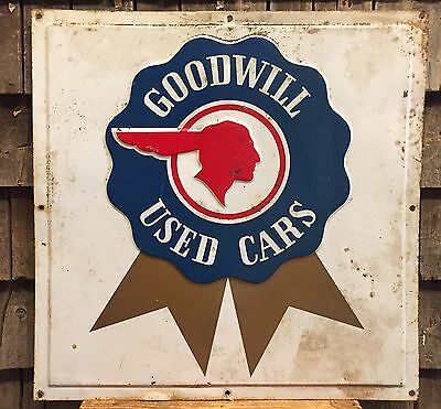 Rare Vintage Blue Ribbon Indian Head PONTIAC Goodwill Used Cars Dealer Sign