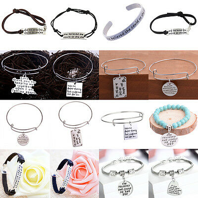 Inspiration She Believe She Could She Did Bracelet Bangle Jewelry Rope Leather