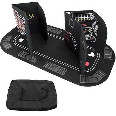 5-in-1 Gaming Table Layout Poker Blackjack Roulette Craps Baccarat Folding