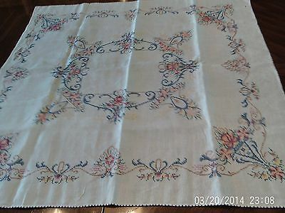 Vintage Hand Embroidered & Cross Stitched Tablecloth   Gorgeous!!!