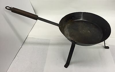 "Wrought Iron ""Spider Skillet"" With 3 Long Legs And Wooden Handle From Montana"