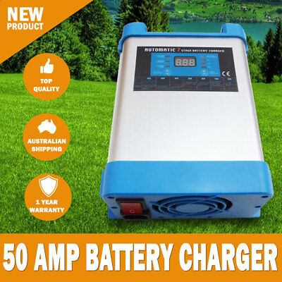 NEW 7 Stage 50 AMP Fully Automatic Caravan Battery Charger Suits 40 to 500Ah