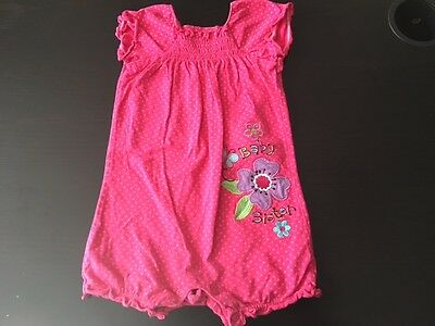 E* Girls One Piece S/SLEEVE POMPER Sz 6-9 MONTHS PINK