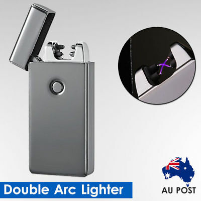 Windproof Lighter Electric Double Arc Flameless Plasma Torch Usb Rechargeable AU