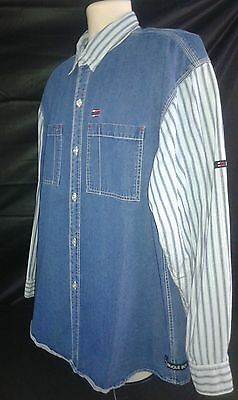 Vintage Bugle Boy Denim and Pattern Long Sleeve Shirt Men's Size XL